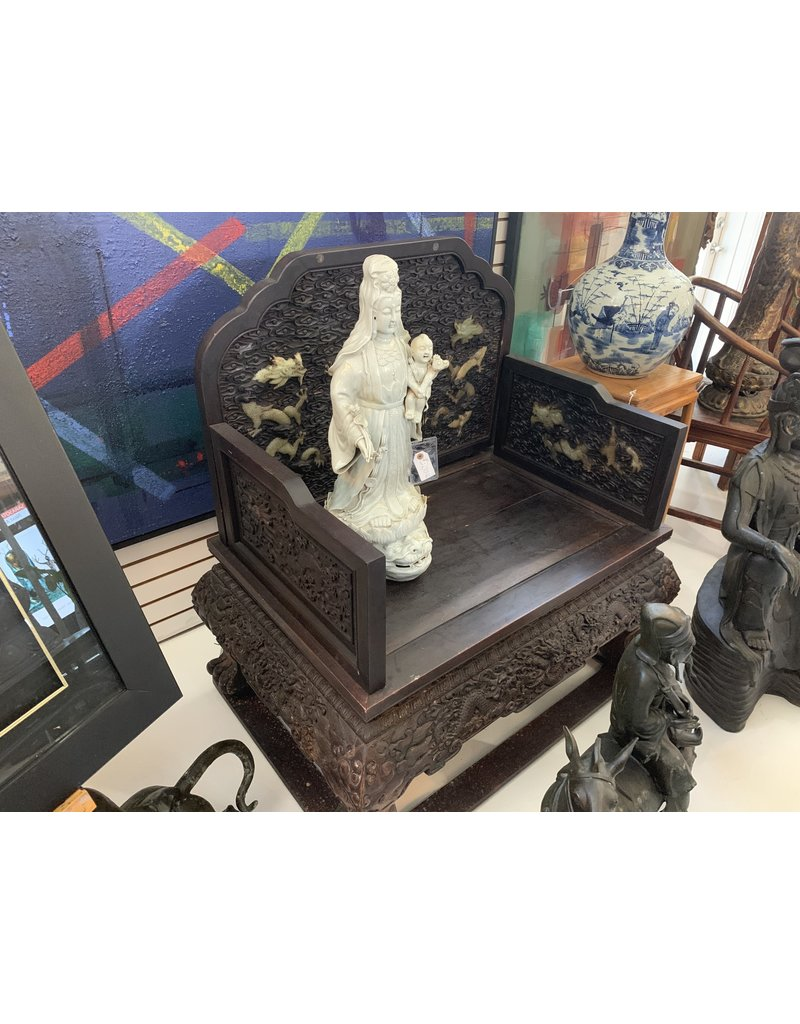 Carved Wood w/Jade Inlay Palace Throne Chairs (Pair)