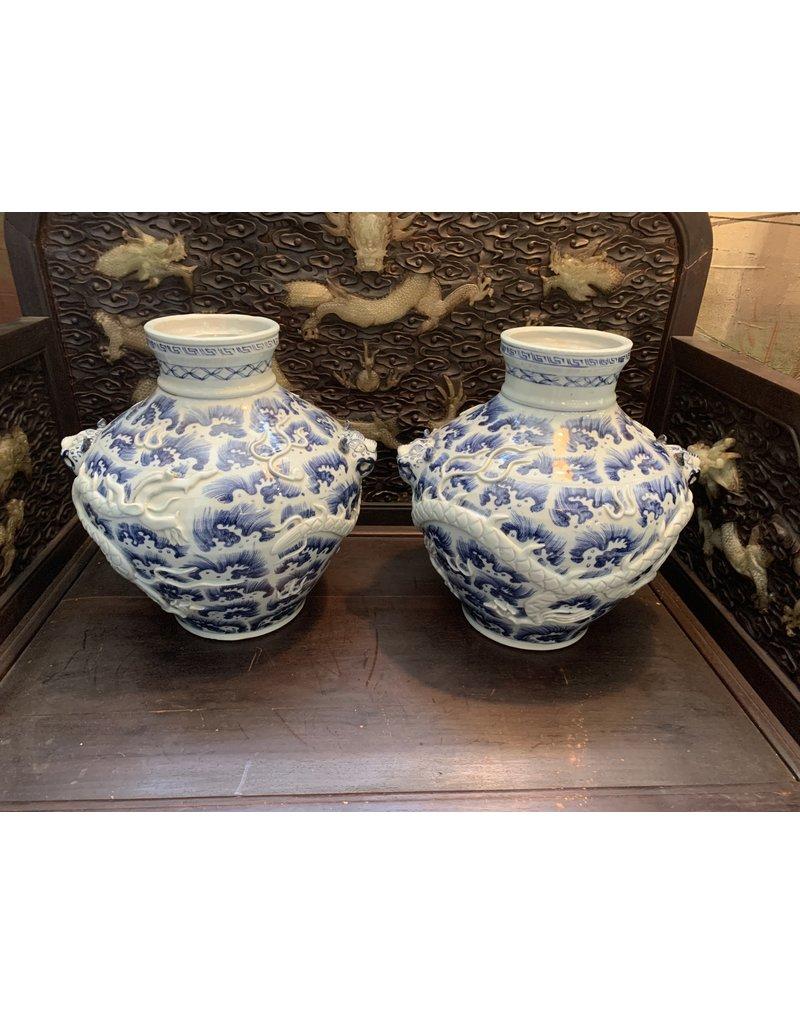 Blue/White Dragon Vases (Pair)