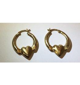 14 karat gold heart hoop earrings