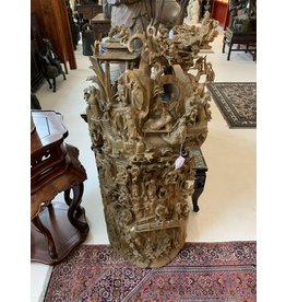 Solid Wood Hand Carved Chinese Village Scene