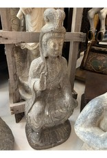 Seated Quan Yin Stone Carving