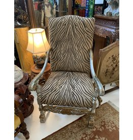 Zebra Print Gilt Wood Chair