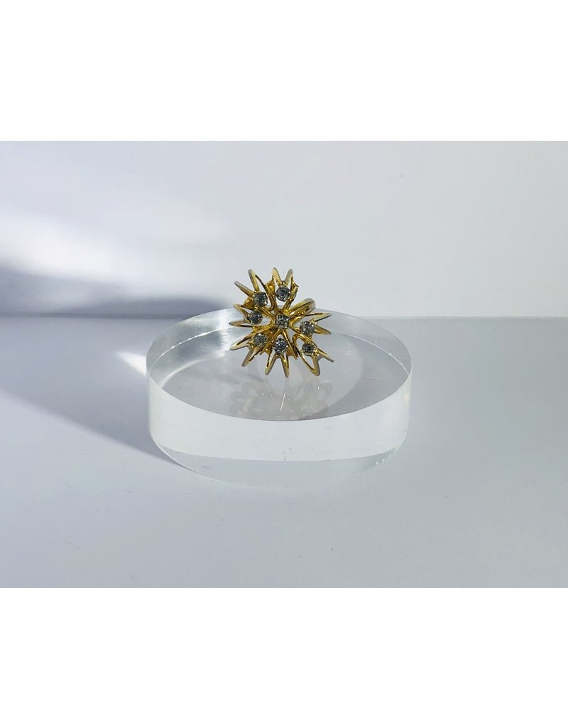 Adjustable Gold Tone Star Burst Ring