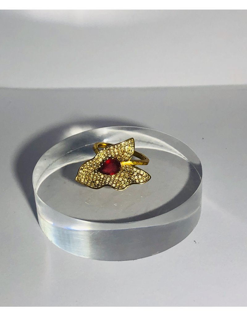 Gold Tone Red Stone Cocktail Ring