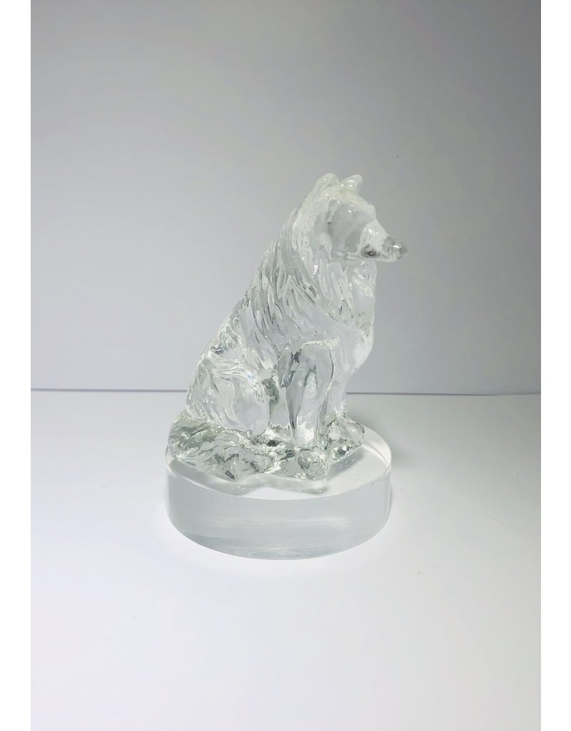 Pressed Glass Collie Figurine