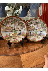 Japanese PolyChrome Hand Painted Plates (Pair)