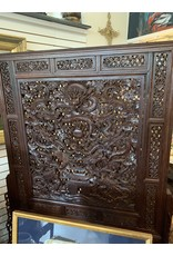 Hand Carved Chinese Screen 5 Dragons