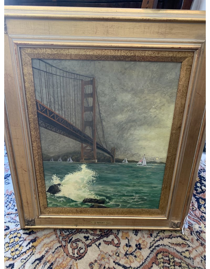 Oil Painting Bridge Signed Lower Right