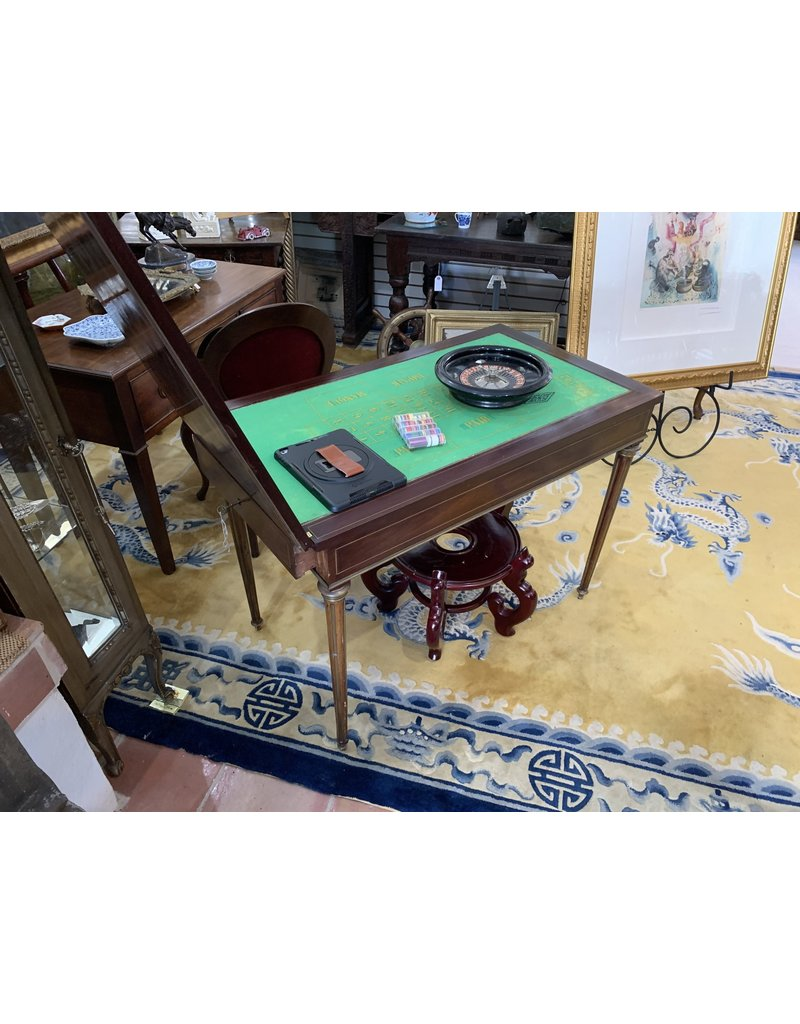 Important French Game Table Brass Inlay