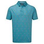 Footjoy FJ mens Lisli Cocktail print Storm Blue polo