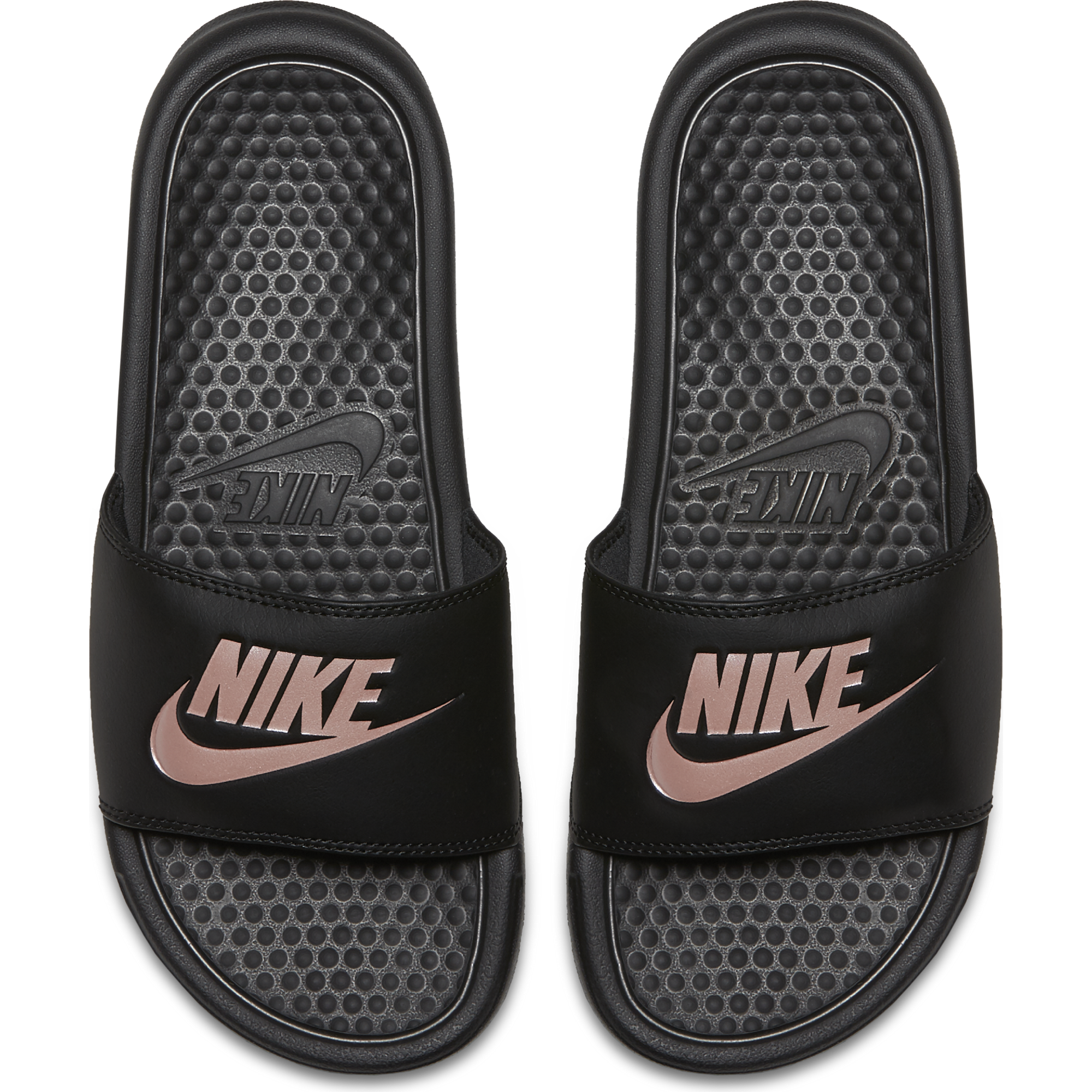 9a53ad36338f Womens Nike Benassi JUST DO IT Sandal - BLK RS GOLD - Culture Athletics