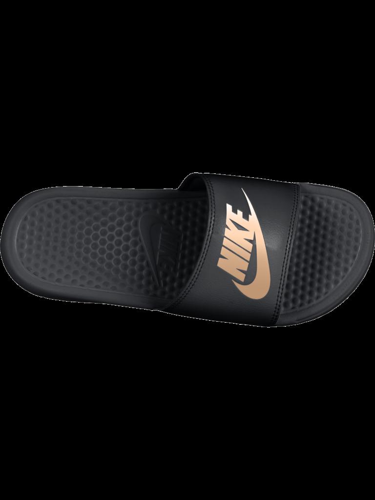 76c04635b Womens Nike Benassi JUST DO IT Sandal - BLK RS GOLD - Culture Athletics
