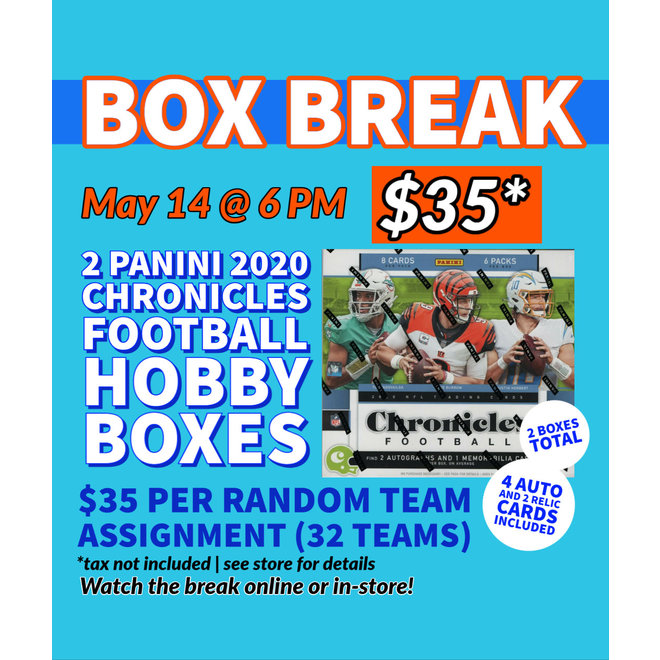 2020 Panini Chronicles Football BREAK  2 ( Two ) Hobby Box Break Random 32 Team