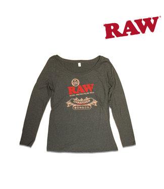 RAW RAW Ladies Scoop Neck Black Long Sleeve XL