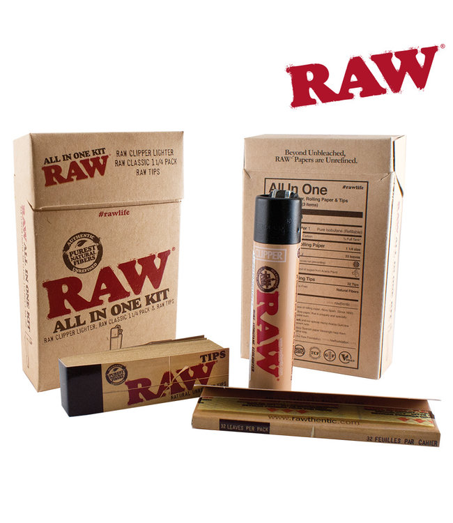 RAW RAW All-in-One Kit w/ Lighter, Tips, Papers & Case
