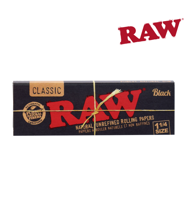 RAW RAW Black Natural Papers, 1 1/4 size, 50-pack
