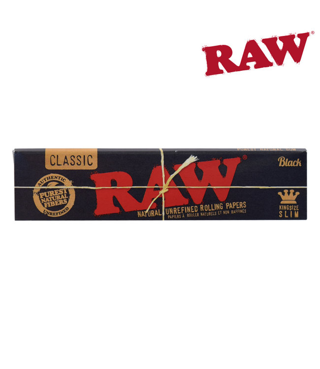 RAW RAW Black Natural King Size Slim Papers, 32-pack