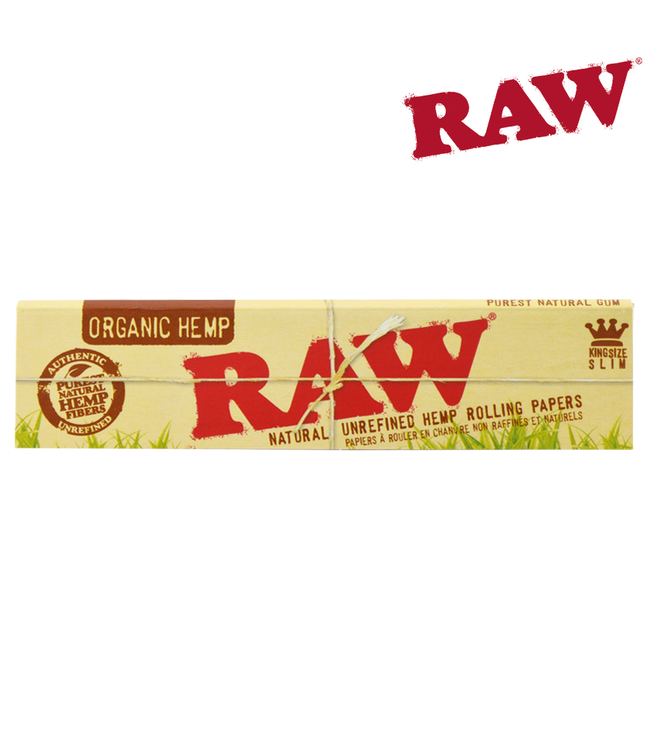 RAW RAW Organic Hemp King Size Slim Papers, 32-pack