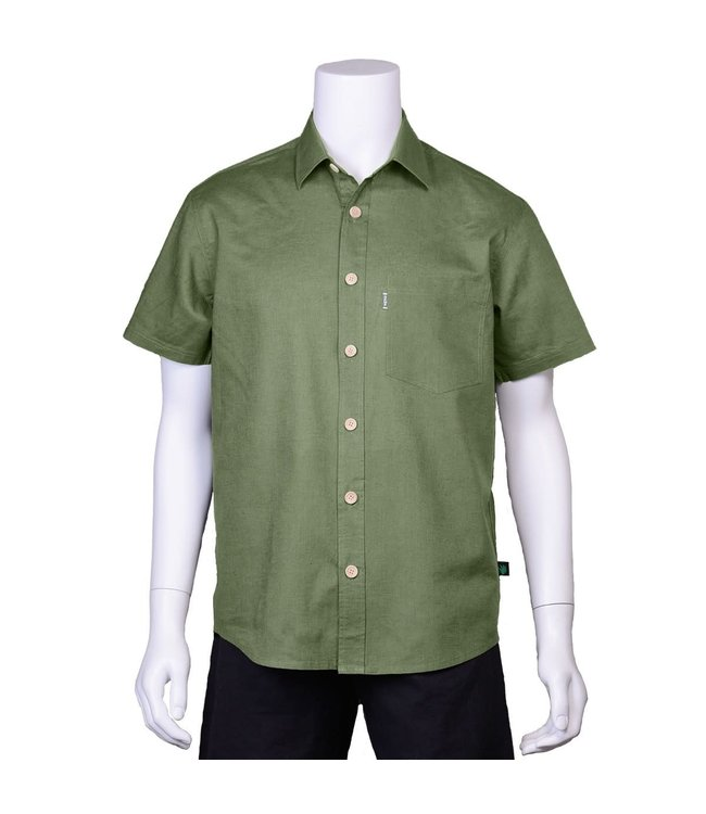 Eco-Essentials Men's Hemp/OC S/S Button Shirt Army Green