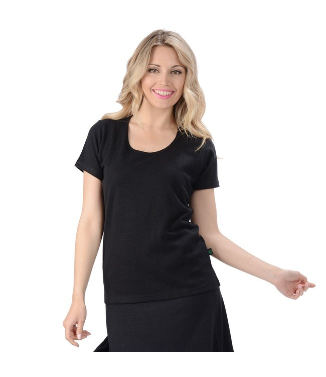 Eco-Essentials Women's Hemp/OC Scoop Neck T-shirt Black