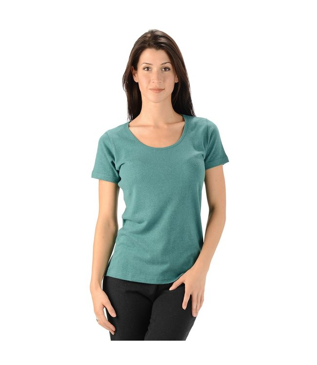 Eco-Essentials Women's Hemp/OC Scoop Neck T-shirt Teal L