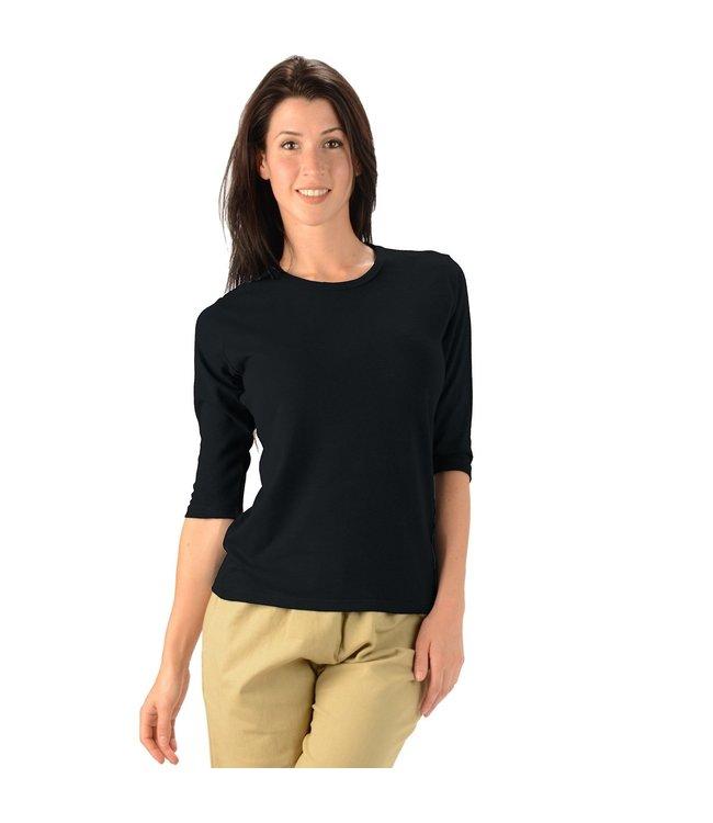 Eco-Essentials Women's Hemp/OC 3/4 Sleeve T-shirt Black XXL
