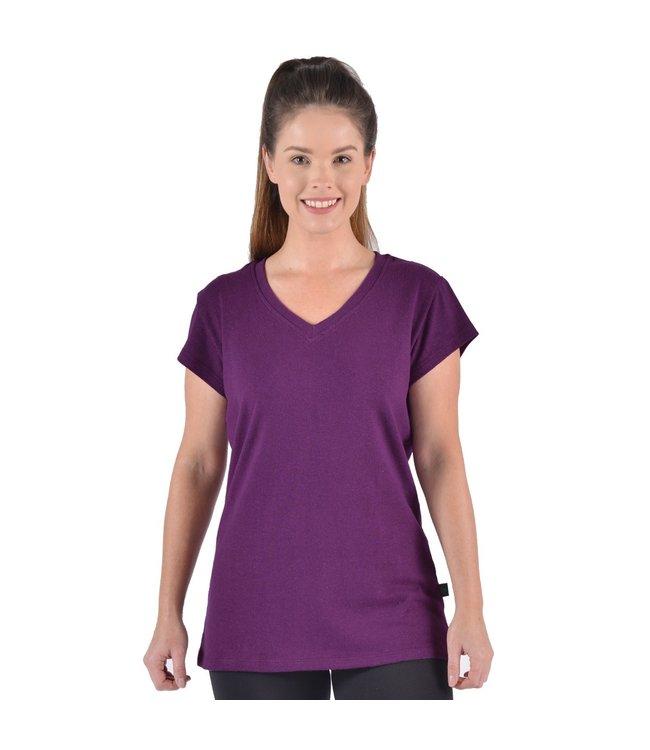 Eco-Essentials Women's Hemp/OC V-neck T-shirt Plum