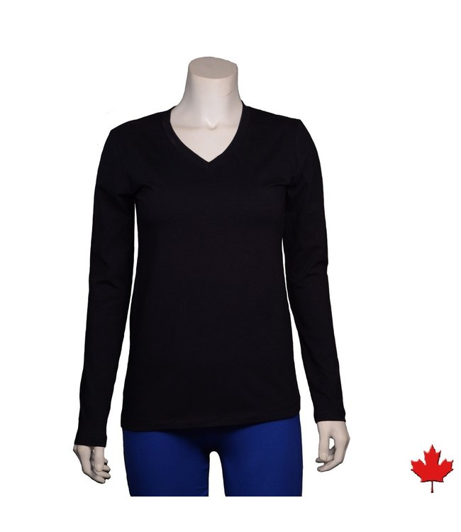Eco-Essentials Women's Hemp L/S Stretch V-neck Top Black