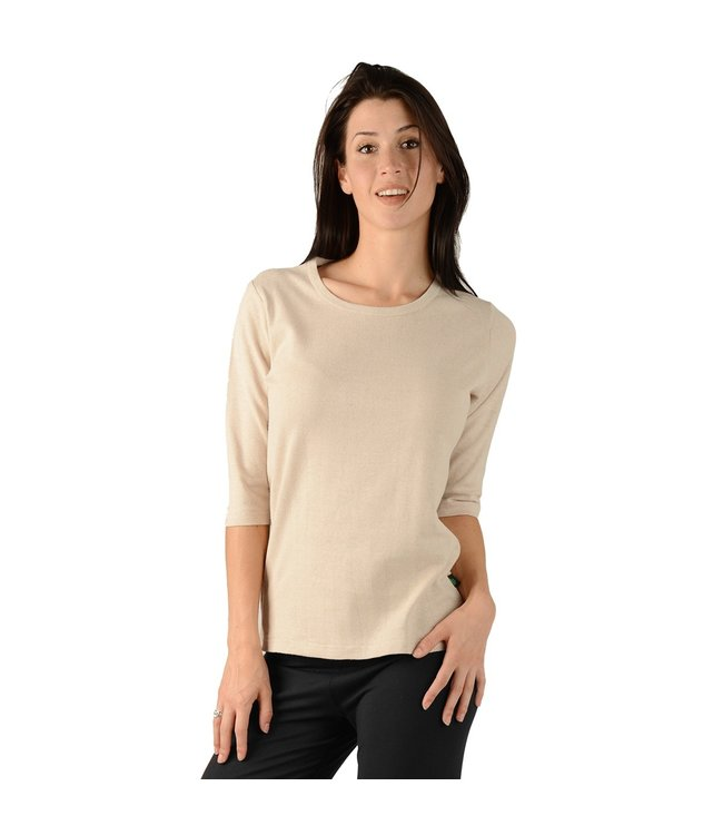 Eco-Essentials Women's Hemp 3/4 Sleeve T-shirt Oatmeal