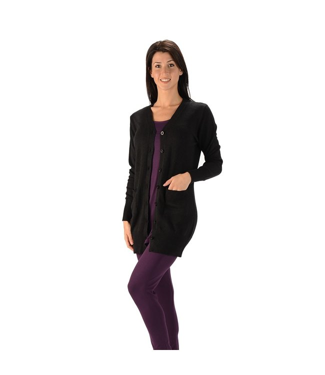 Eco-Essentials Women's Hemp Long Cardigan Black L