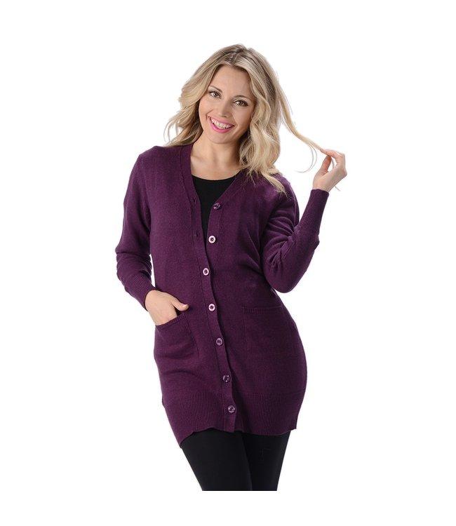 Eco-Essentials Women's Hemp Long Cardigan Plum