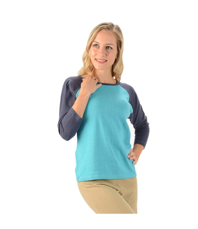 Eco-Essentials Women's Hemp 3/4 Raglan T-shirt Turquoise/Blue