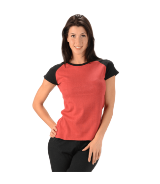 Eco-Essentials Women's Hemp Raglan T-shirt Cranberry/Black