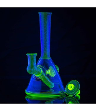 "IL Glass IL Glass 6.5"" UV Reactive Illuminati Over Cobalt Rainbow Mini Tube w/ Carb Cap 14mm Female"