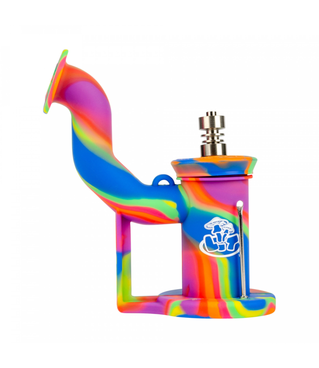 LIT Silicone LIT Silicone Concentrate Bubbler w/ Titanium Nail Rainbow