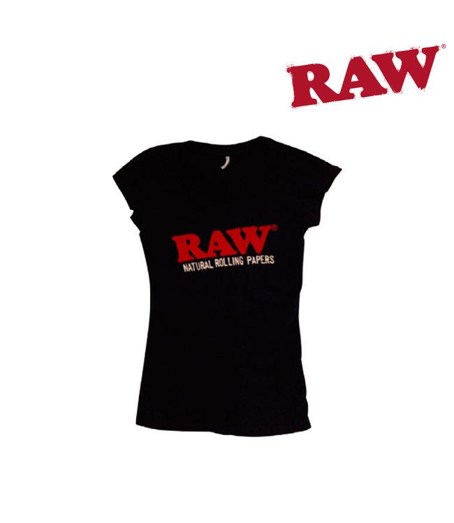 RAW RAW Ladies V-Neck Black Short Sleeve Shirt