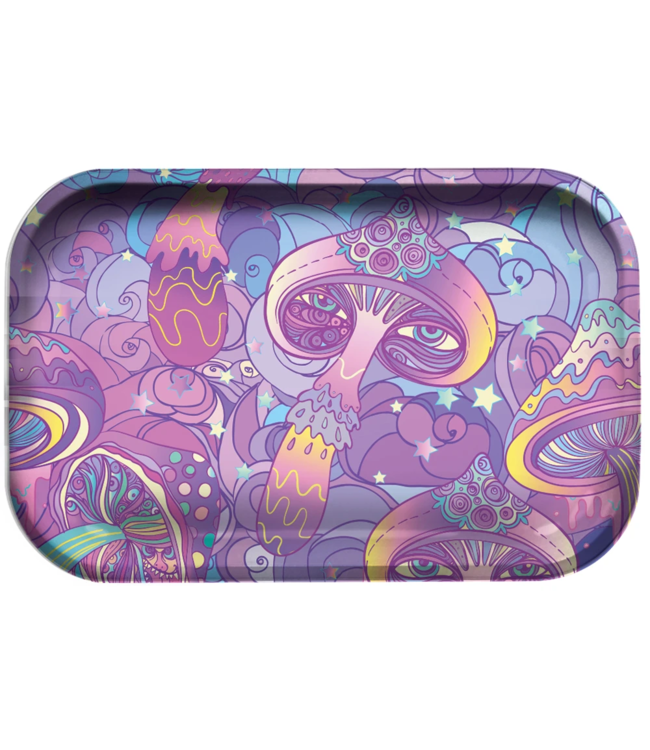 "Pulsar Pulsar 11"" x 7"" Metal Rolling Tray - Medium - Melting Mushroom V2"