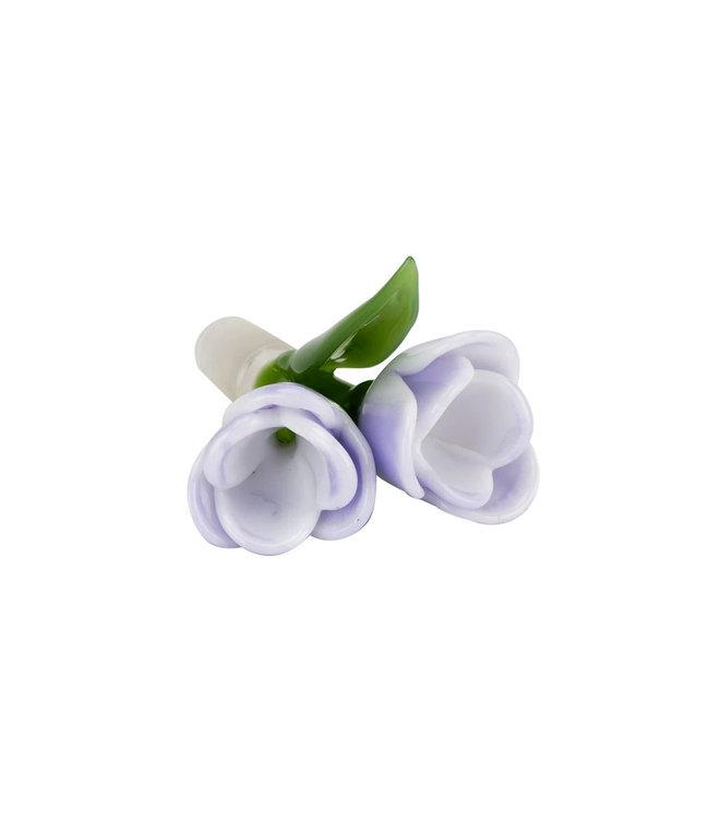 Empire Glassworks Empire Glassworks 14mm White/Lavender Tulip Dual Flower Bowl