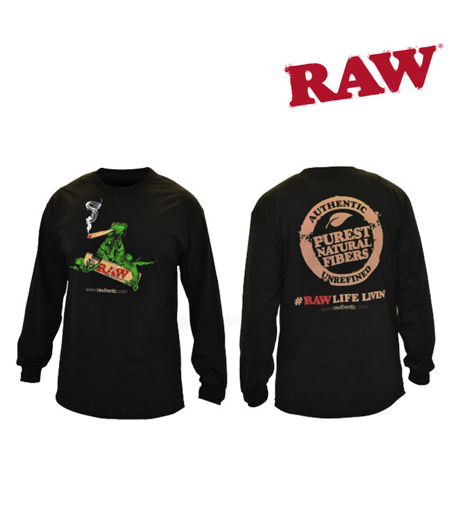 RAW RAW Men's Smoking Iguana Black Long Sleeve