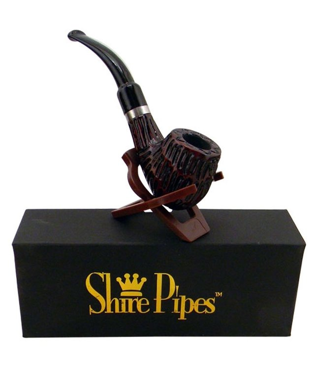 "Shire Pipes 5.25"" Engraved Brandy Rosewood Pipe"