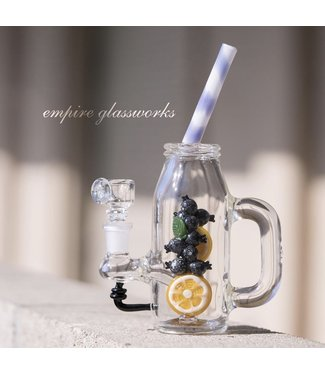 "Empire Glassworks Empire Glassworks 8"" Blueberry & Orange Rig w/ Herb Bowl"