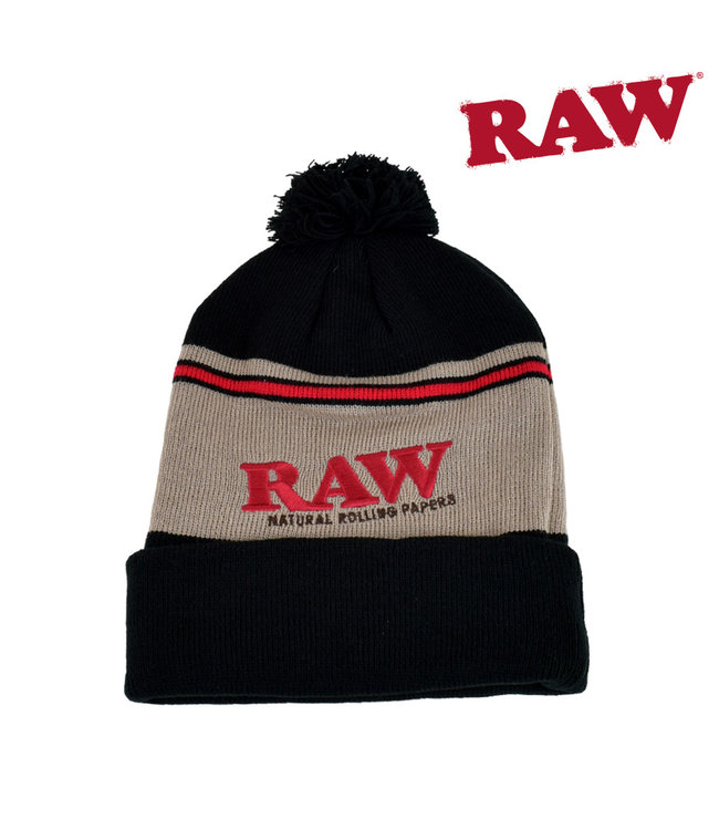 RAW RAW Pompom Hat Black & Brown