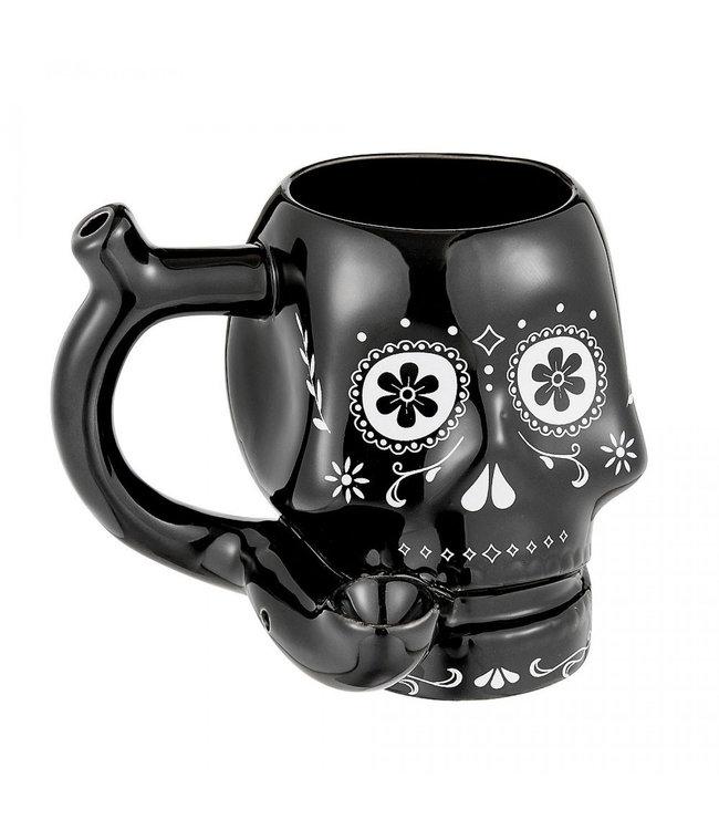 Sugar Skull Mug Pipe Black