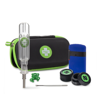 Happy Dab Kit w/ Dual-Flame Torch, Nectar Collector w/ Ti Tip, Tool & 2 Silicone Jars