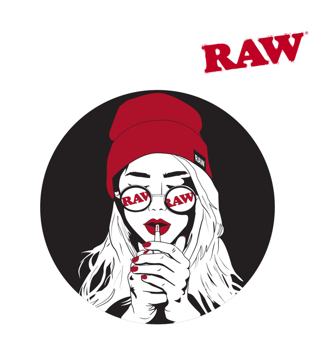 RAW RAW Sticker Girl w/ Glasses & Hat