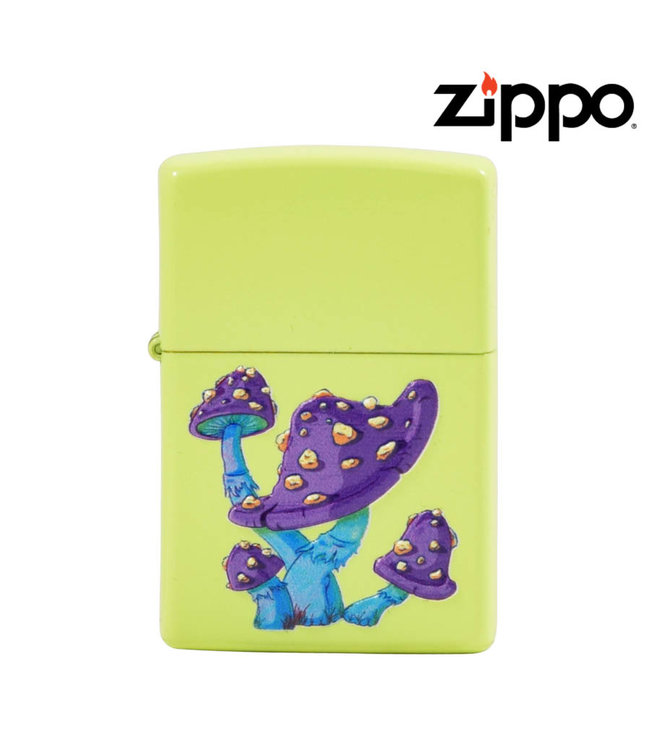 Zippo Lighter Neon Yellow w/ Mushrooms