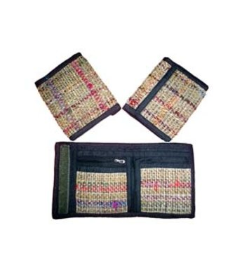 Fair Trade Made Hemp Wallet with Recycled Silk