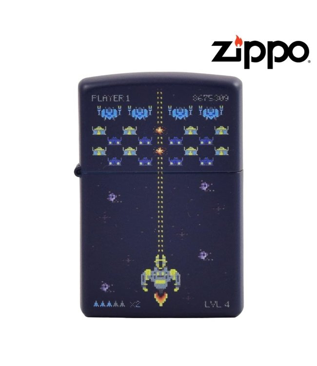 Zippo Lighter Pixel Game Navy Matte