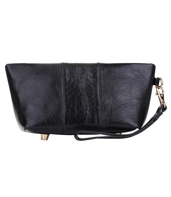 Erbanna Erbanna Smell Proof Carry Bag w/ Clutch & Wristlet Strap - Kimberly - Black Leather