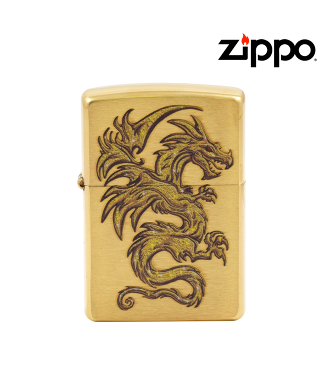 Zippo Lighter Brushed Brass Dragon